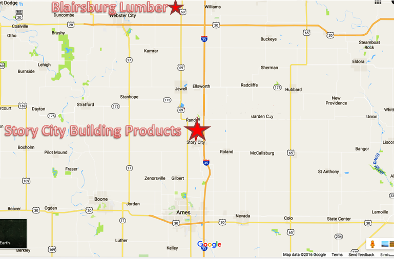 Location Map Story City Building Products